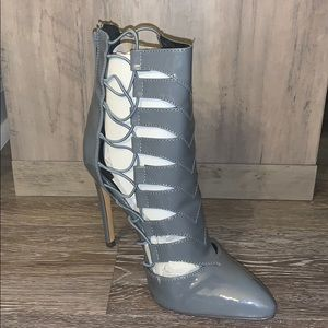 Fahrenheit Gray Patent Leather Ankle Bootie
